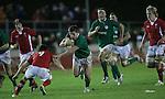 Ireland scrum half Luke McGrath takes on his opposite number Rhodri Williams.Under 20 Six Nations.Wales v Ireland.Eirias - Colwyn Bay.01.02.13.©Steve Pope