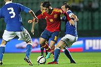 "Isco e Luca Caldirola.Siena 13/11/2012 Stadio ""Franchi"".Football Calcio Nazionale U21.Italia v Spagna.Foto Insidefoto Paolo Nucci."