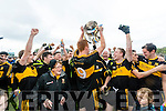 Dr Crokes captain Johnny Buckley lifts the Bishop Moynihan Cup after defeating Kenmare District in the Senior County Football Championship final at Fitzgerald Stadium on Sunday.