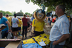 St Albans 0 Watford 5, 26/07/2014. Clarence Park, Pre Season Friendly. Pre Season friendly between St Albans City and Watford from Clarence Park Stadium. St Albans City mascot admires the new season shirts. Watford won the game 5-0. Photo by Simon Gill.