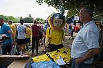 St Albans 0 Watford 5, 26/07/2014. Clarence Park, Pre Season Friendly. Pre Season friendly between St Albans City and Watford from Clarence Park Stadium. St Albans City mascot admires the new season shirts. Watford won the game 5-0. Photo by Simon Gill.
