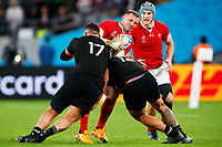 1st November 2019, Tokyo, Japan;  Hadleigh Parkes (WAL) is tackled by Antunaisa Moli of New Zealand;  2019 Rugby World Cup 3rd place match between New Zealand 40-17 Wales at Tokyo Stadium in Tokyo, Japan.  - Editorial Use