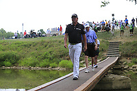 Jason DUFFNER (USA) crosses the footbridge from the 9th tee during Thursday's Round 1 of the 2014 PGA Championship held at the Valhalla Club, Louisville, Kentucky.: Picture Eoin Clarke, www.golffile.ie: 7th August 2014