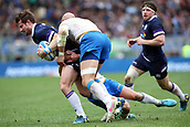 17th March 2018, Stadio Olimpico, Rome, Italy; NatWest Six Nations rugby, Italy versus Scotland; Pete Horne of Scotland is challenged by Tommaso Allan and Serigio Parisse of Italy
