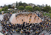 CAL Cheerleaders and Band perform on Goldman Plaza before 115th Big Game Football game at Memorial Stadium in Berkeley, California on October 20th, 2012.  Stanford defeated California, 21-3.