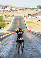 Jul. 18, 2010; Sonoma, CA, USA; NHRA top fuel dragster driver Larry Dixon looks down track prior to the start of the Fram Autolite Nationals at Infineon Raceway. Mandatory Credit: Mark J. Rebilas-