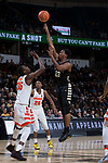 Bryant Crawford (13) of the Wake Forest Demon Deacons shoots over Bourama Sidibe (35) of the Syracuse Orange during first half action at the LJVM Coliseum on January 3, 2018 in Winston-Salem, North Carolina.  (Brian Westerholt/Sports On Film)