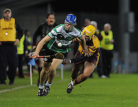 24th October 2013;  Chris Crummey, Lucan Sarsfields, in action against Darren Kelly, Craobh Chiarain.Dublin County Senior Hurling Championship Semi-Final, Craobh Chiarain v Lucan Sarsfields, Parnell Park, Dublin. Picture credit: Tommy Grealy / actionshots.ie