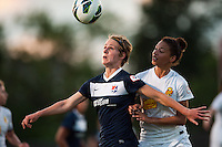 Sky Blue FC midfielder Sophie Schmidt (16) and Western New York Flash defender Estelle Johnson (12). The Western New York Flash defeated Sky Blue FC 3-0 during a National Women's Soccer League (NWSL) match at Yurcak Field in Piscataway, NJ, on June 8, 2013.
