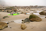 Beach Blanket among the Rocks and Boulders on a Foggy Beach in Wells, Maine