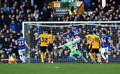 2nd February 2019, Goodison Park, Liverpool, England; EPL Premier League Football, Everton versus Wolverhampton Wanderers; Raul Jimenez of Wolves scores to put his side back in front, 2-1 in the 45th minute