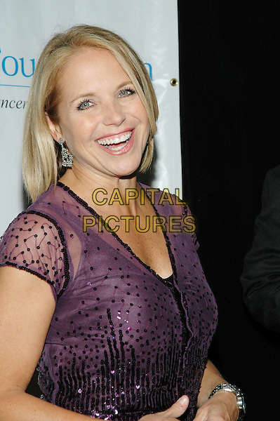 KATIE COURIC.T.J. Martell Foundation 30th Anniversary Gala at the Marriott Marquis in Times Square.  .6th October 2005.Ref:ADM/PO.half length host hosts presenter presenters maroon purple sheer see through chiffon sequin sequinned top.www.capitalpictures.com.sales@capitalpictures.com.©Patti Ouderkirk/AdMedia/Capital Pictures.