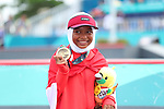 Bunga Nyimas (INA), <br /> AUGUST 29, 2018 - Skateboarding : <br /> Women's Street  Medal ceremony<br /> at Jakabaring Sport Center Skatepark <br /> during the 2018 Jakarta Palembang Asian Games <br /> in Palembang, Indonesia. <br /> (Photo by Yohei Osada/AFLO SPORT)