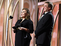 Rosanne Barr and John Goodman present at the 75th Annual Golden Globe Awards at the Beverly Hilton in Beverly Hills, CA on Sunday, January 7, 2018.<br /> *Editorial Use Only*<br /> CAP/PLF/HFPA<br /> &copy;HFPA/PLF/Capital Pictures