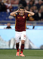 Calcio, Serie A: Roma vs Bologna. Roma, stadio Olimpico, 11 aprile 2016.<br /> Roma&rsquo;s Iago Falque reacts during the Italian Serie A football match between Roma and Bologna at Rome's Olympic stadium, 11 April 2016.<br /> UPDATE IMAGES PRESS/Isabella Bonotto