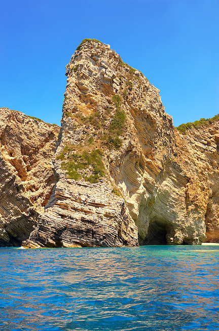 Sedimentary Rock formations of the cliffs of Paleokastritsa Corfu, Greek Ionian Islands