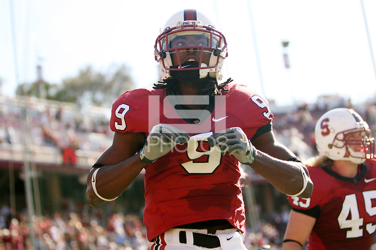 13 October 2007: Richard Sherman scores a touchdown during Stanford's 38-36 loss to TCU at Stanford Stadium in Stanford, CA.