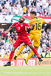 Khalil Baniateyah of Jordan (L) fights for the ball with Chris Ikonomidis of Australia (R) during the AFC Asian Cup UAE 2019 Group B match between Australia (AUS) and Jordan (JOR) at Hazza Bin Zayed Stadium on 06 January 2019 in Al Ain, United Arab Emirates. Photo by Marcio Rodrigo Machado / Power Sport Images