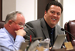 Nevada Assembly Speaker John Oceguera, D-Las Vegas, enjoys a joke on Friday, April 15, 2011, at the Legislature in Carson City, Nev. Assemblyman Tom Grady, R-Yerington, is at left..Photo by Cathleen Allison