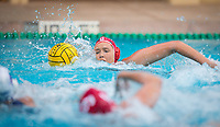 STANFORD, CA - April 20, 2019: Aria Fischer at Avery Aquatic Center. The #1 Stanford Cardinal took down the #20 San Jose State Spartans 22-4.