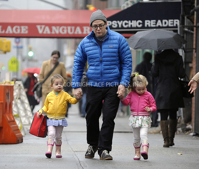 WWW.ACEPIXS.COM......December 10 2012, New York City....Actor Matthew Broderick takes twins Marion and Tabitha to play school on December 10 2012 in New York City......By Line: Curtis Means/ACE Pictures......ACE Pictures, Inc...tel: 646 769 0430..Email: info@acepixs.com..www.acepixs.com