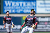 Lake Elsinore Storm shortstop Ruddy Giron (2) on defense against the Rancho Cucamonga Quakes at LoanMart Field on May 28, 2018 in Rancho Cucamonga, California. The Storm defeated the Quakes 8-5.  (Donn Parris/Four Seam Images)