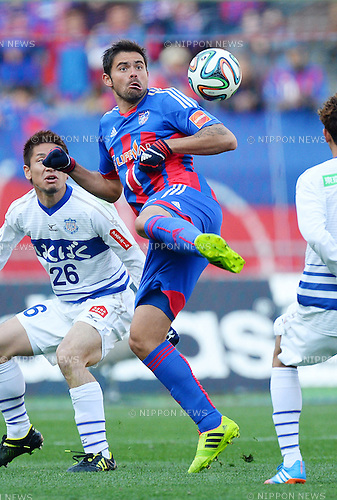 (R-L) Edu (FC Tokyo), Naoaki Aoyama (Ventforet),<br /> MARCH 8, 2014 - Football / Soccer :<br /> 2014 J.League Division 1 match between F.C.Tokyo 1-1 Ventforet Kofu at Ajinomoto Stadium in Tokyo, Japan. (Photo by AFLO)