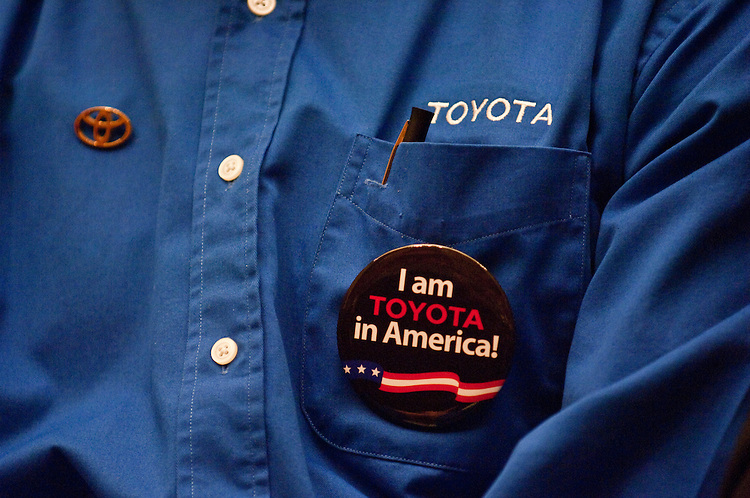 WASHINGTON, DC - Feb. 23: A Toyota employee in the audience wears his company pride as James E. Lentz, president and chief operating officer for Toyota Motor Sales U.S.A. Inc., testifies during the House Energy Subcommittee on Oversight and Investigations hearing on safety defects that have led to the recall of millions of Toyotas. (Photo by Scott J. Ferrell/Congressional Quarterly)