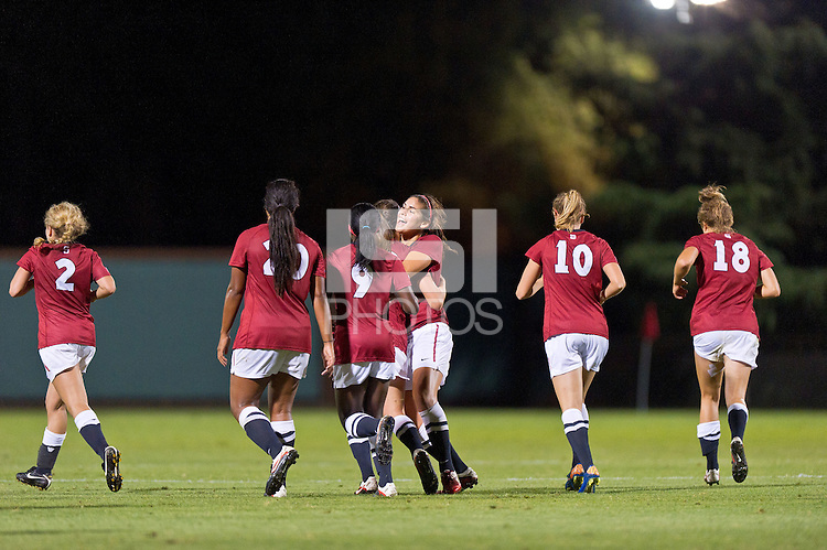STANFORD, CA - SEPTEMBER 24: Team celebrates a goal as Stanford defeats Arizona 7-0 in a women's soccer match on September 24, 2011 in Stanford, California.