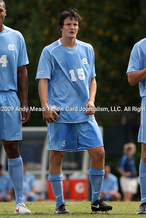 06 September 2009: UNC's Cameron Brown. The University of North Carolina Tar Heels defeated the Evansville University Purple Aces 4-0 at Fetzer Field in Chapel Hill, North Carolina in an NCAA Division I Men's college soccer game.