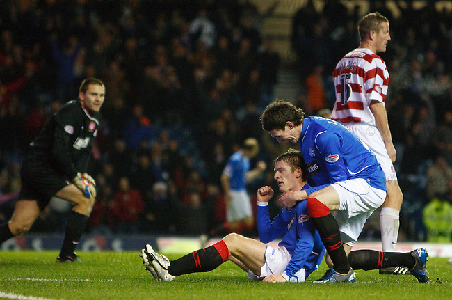 Steven Davis takes the acclaim of Kyle Lafferty as the irishman wraps up the scoring at 7-1