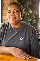 Gwen Mathews is using a Kickstarter campaign to help move her popular, black-owned cafe, Blue Coffee in Durham, North Carolina on Friday, November 7, 2014. (Justin Cook)