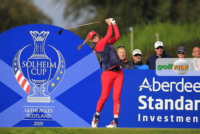 Jessica Korda of Team USA on the 7th tee during Day 1 Foursomes at the Solheim Cup 2019, Gleneagles Golf CLub, Auchterarder, Perthshire, Scotland. 13/09/2019.<br /> Picture Thos Caffrey / Golffile.ie<br /> <br /> All photo usage must carry mandatory copyright credit (© Golffile | Thos Caffrey)
