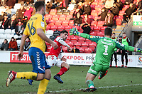 Fleetwood Town's Ched Evans beats Charlton Athletic's Dillon Phillips to score Fleetwood Town's first goal<br /> <br /> Photographer Andrew Kearns/CameraSport<br /> <br /> The EFL Sky Bet League One - Fleetwood Town v Charlton Athletic - Saturday 2nd February 2019 - Highbury Stadium - Fleetwood<br /> <br /> World Copyright © 2019 CameraSport. All rights reserved. 43 Linden Ave. Countesthorpe. Leicester. England. LE8 5PG - Tel: +44 (0) 116 277 4147 - admin@camerasport.com - www.camerasport.com