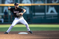 Louisville Cardinals second baseman Justin Lavey (16) turns a double play during Game 12 of the NCAA College World Series against the Vanderbilt Commodores on June 21, 2019 at TD Ameritrade Park in Omaha, Nebraska. Vanderbilt defeated Louisville 3-2. (Andrew Woolley/Four Seam Images)