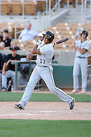 Drew Stankiewicz #17 of the Gilbert (Az.) High School Tigers bats against the Mountain Pointe High School Pride in the  Class 5A-1 state tournament at Camelback Ranch on May 7, 2011 in Glendale, Arizona. Mountain Pointe reached the semi-finals with a 2-1 victory...Photo by:  Bill Mitchell/Four Seam Images