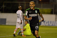 ENVIGADO -COLOMBIA, 25-03-2018: Aldo Leao Ramirez jugador de Atletico Nacional celebra después de anotar el segundo gol de su equipo a Envigado FC durante partido por la fecha 10 de la Liga Águila I 2018  realizado en el Polideportivo Sur de la ciudad de Envigado./ Aldo Leao Ramirez player of Atletico Nacional celebrates after scoring the second goal of his team to Envigado FC during match for the date 10 of the Aguila League I 2018 played at Polideportivo Sur in Envigado city.  Photo: VizzorImage/ León Monsalve / Cont