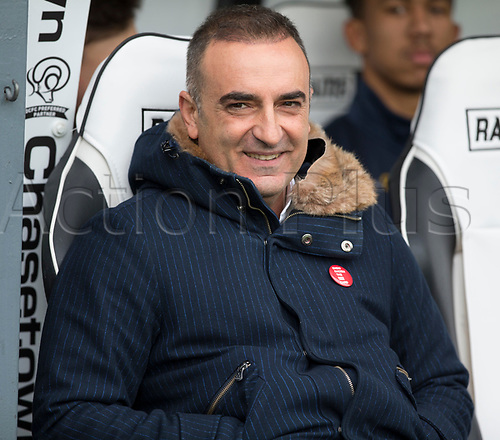 21st October 2017, Pride Park Stadium, Derby, England; EFL Championship football, Derby County versus Sheffield Wednesday; Sheffield Wednesday Head Coach Carlos Carvalhal in the team dug out before the kick off