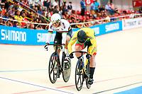 Picture by Alex Whitehead/SWpix.com - 10/12/2017 - Cycling - UCI Track Cycling World Cup Santiago - Velódromo de Peñalolén, Santiago, Chile - Lithuania's Vasilijus Lendel vs Russia's Denis Dmitriev in the Men's Sprint final.
