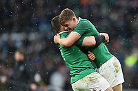 Cian Healy and Garry Ringrose of Ireland embrace at the final whistle. Natwest 6 Nations match between England and Ireland on March 17, 2018 at Twickenham Stadium in London, England. Photo by: Patrick Khachfe / Onside Images