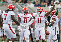 NWA Democrat-Gazette/BEN GOFF @NWABENGOFF<br /> McTelvin Agim (3), De'Jon Harris and Ryan Pulley, Arkansas defenders, celebrate a stop in the first quarter vs Colorado State Saturday, Sept. 8, 2018, at Canvas Stadium in Fort Collins, Colo.