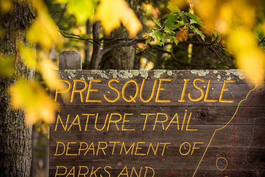 Signage at Presque Isle Park at Marquette, Michigan.