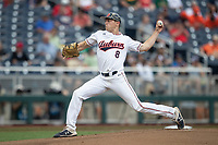 Auburn Tigers pitcher Bailey Horn (8) delivers a pitch to the plate during Game 7 of the NCAA College World Series against the Louisville Cardinals on June 18, 2019 at TD Ameritrade Park in Omaha, Nebraska. Louisville defeated Auburn 5-3. (Andrew Woolley/Four Seam Images)