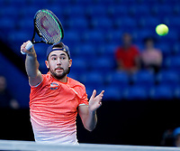 7th January 2020; RAC Arena, Perth, Western Australia; ATP Cup Australia, Perth, Day 5; Russia versus Norway; Viktor Durasovic of Norway plays a volley at the net during the doubles against Russia - Editorial Use