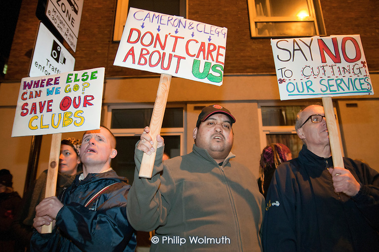 Users of children's centres, youth clubs, and day centres for people with learning difficulties. all threatened with closure, demonstrate outside Camden Town Hall before a council Cabinet budget-setting meeting.