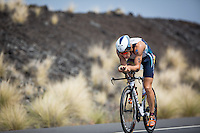 Sebastian Kienle on the Queen K on the bike at the 2013 Ironman World Championship in Kailua-Kona, Hawaii on October 12, 2013.