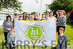 Dromclough NS receiving the Health Promoting School flag at the school on Monday morning last.