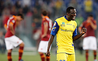 Calcio, Serie A: Roma vs Chievo Verona. Roma, stadio Olimpico, 7 maggio 2013..ChievoVerona defender Boukary Drame', of France, celebrates as AS Roma players react in background during the Italian Serie A football match between AS Roma and ChievoVerona at Rome's Olympic stadium, 7 May 2013. ChievoVerona won 1-0..UPDATE IMAGES PRESS/Riccardo De Luca