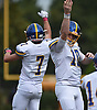Matthew Sluka #10, Kellenberg quarterback, right, and Jordan Delucia #7 celebrate after Delucia ran for a touchdown in the first quarter of an NSCHSAA varsity football game against host Chaminade High School in Mineola on Sunday, Oct. 14, 2018. Kellenberg won by a score of 42-14.
