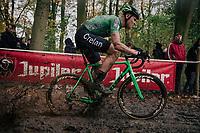 mudsplash by Tim Merlier (BEL/Crelan-Charles)<br /> <br /> Men's race<br /> Superprestige Asper-Gavere 2018 (BEL)